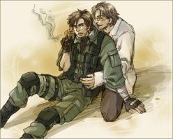 snake and otacon smoke by snakek12