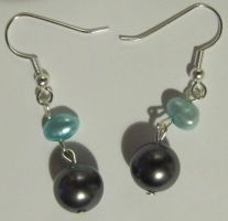 water and glass pearls earrings by AnaInTheStars