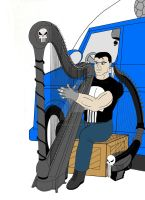The Punisher, his harps, and his battle van! by OwossoHarpist