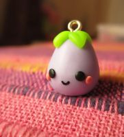 Eggplant tiny kawaii polymer by Nhenya