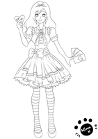 Alice in Wonderland - Lineart by Lil-Fwuffee-Kitty