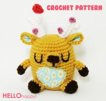 kawaii chubby deer crochet amigurumi pattern by hellohappycrafts