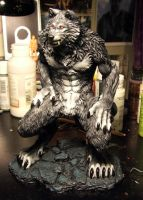 Gray red eyed werewolf 2nd view by Meadowknight