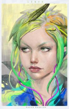 LEMON girl  +  VIDEO Process of  painting by paulobarrios
