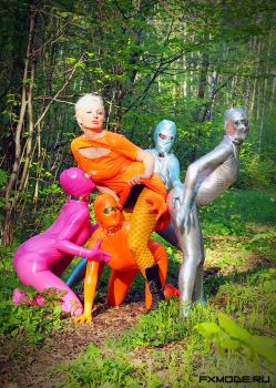4 zentai and a girl by AgnaDevi