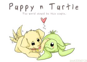 Puppy 'n Turtle by PsychedelicMind