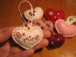 Valentine Felt Brooches and Ornaments by LadyofLabrador