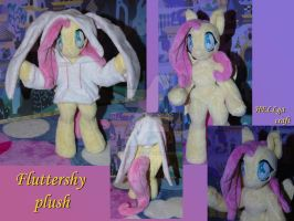 Anthro Fluttershy plush in hoodie bunny by My-Little-Plush