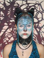 O.C. Neon Blue tiger makeup by Arachnoid