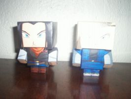 androide 17 y androide 18 Dragon Ball CUBEECRAFT by tenchaos