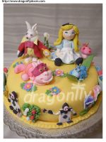Alice in Wonderland Cake by dragonflydoces