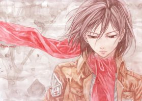 Shingeki No Kyojin Mikasa Ackerman Watercolor  by Nick-Ian