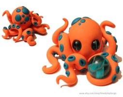 Polymer Clay Octopus with Orb Orange by ShaidySkyDesign