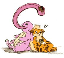 Lickitung and Growlithe by GrowlyLobita