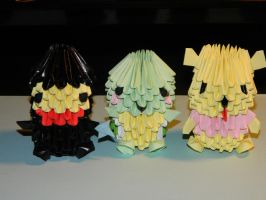 3d origami turtle, winnie the pooh and ninja by BAZZ1392
