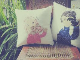 Couple Quilt Pillow by heppieyippie