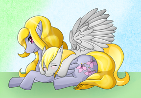 Lily Blossom + Derpy by Sanyamio