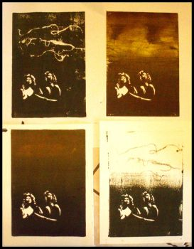Linoprint TEST PRINTS 1-4 by rimeligbarsk