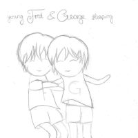 Young Fred and George sleeping Chibi sketch by Hedwigs-art