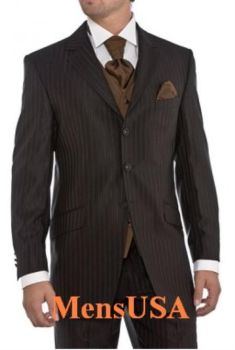 CoCo Brown Shadow Pinstripe Wool Feel Mens Suit by mensusasuits