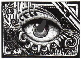 ACEO Scratchboard Pierced Eye by MandarinMoon