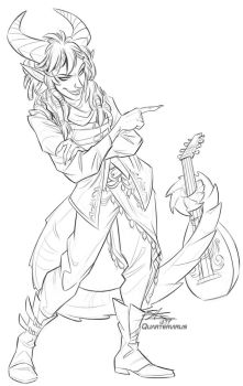 Sketch Raffle: Tiefling Bard for Jovioski by Quarter-Virus