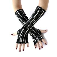 Black and White stretch fingerless gloves by WearMeUp