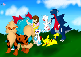 Me and my Pokemon HG team by JulieFF