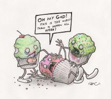 ZOMBIE CUPCAKES by RobtheDoodler