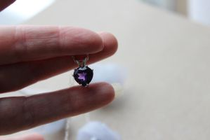 Amethyst Heart Necklace Genuine Natural Gemstone by artistiquejewelry