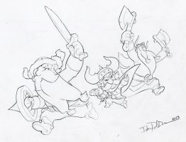 Blizzcon Lost Vikings Demo Original Drawing by NorseChowder