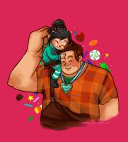 Ralph and Vanellope by galazy