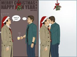 Supernatural - Christmas Card for Miggu by Kumagorochan