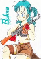 Bulma with AK47 by The-BulmaLover