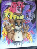 Five Nights at Freddy's 1 - Watercolour painting by Skoryx