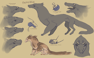 fenodile! (open species, line art included) by babezord