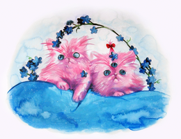Pink Persian Kittens by ShugarSketch