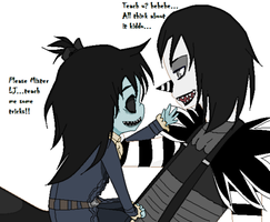 Alexis and Laughing Jack - Teach me please by CapriciousJinx