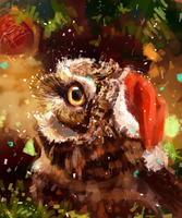 Christmas owl by AlaxendrA