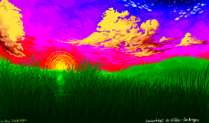Sunset Pixel Field by Willow-Pendragon