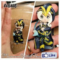Pendant Ashe league of legends handmade Chibi by DarkettinaMarienne
