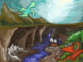 Dragon's Canyon Painting Version by rosedragoness