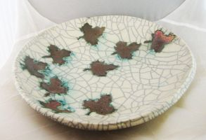 Raku Platter- Falling Leaves by JesIdres