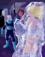 Mr Freeze and Emma Frost by jFury