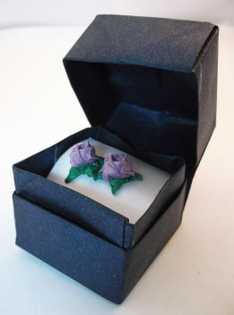 Enchanted Purple Rose Earrings by PeryB