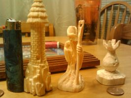 wood carved chess pieces by voradorhylden