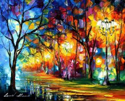 Mystical Alley by Leonid Afremov by Leonidafremov