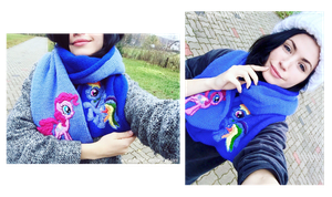 Pinkie Dash/Rainbow Pie scarf on model by Duklida