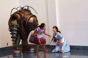 BioShock - Big Daddy with Little Sisters by BrianFloresPhoto