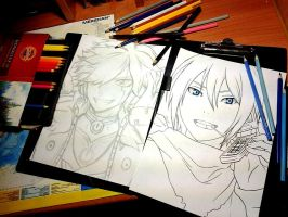 Psychic Tracer (Elsword) and Yato (Noragami) WIP by Reyos-Cheney